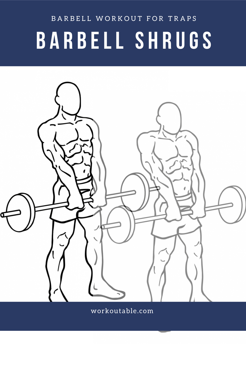 trap workout with barbells - barbell shrugs